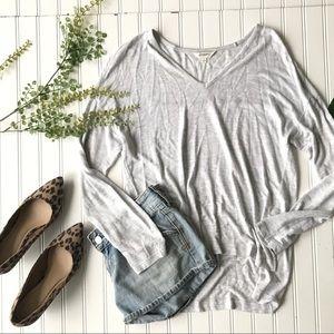 Madewell casual split hem shirt heathered grey